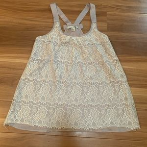 3/$15 forever 21 grey embroidered lace bow top